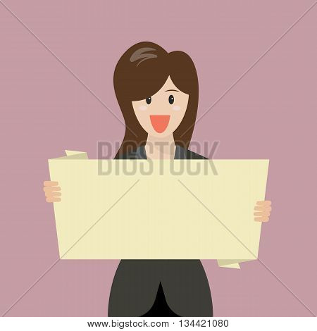 Business woman showing blank board. Vector Illustration