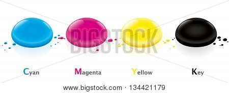 CMYK color model with four ink drops - cyan, magenta, yellow and key- Isolated vector illustration on white background.