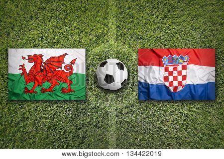 Wales Vs. Croatia Flags On Soccer Field