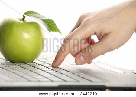 Apple, keyboard, hand