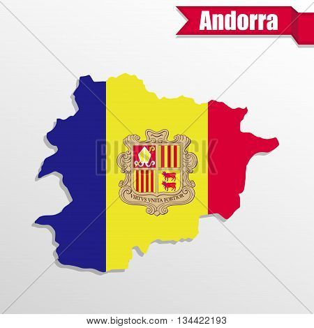 Andorra map with flag inside and ribbon