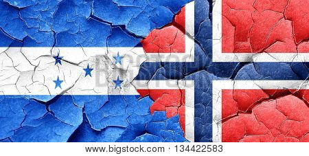 Honduras flag with Norway flag on a grunge cracked wall
