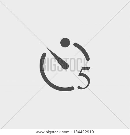 Camera timer icon in a flat design in black color. Vector illustration eps10