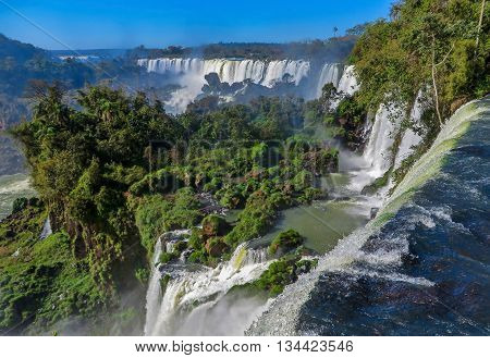 Iguazu Falls on the Argentina and Brazil borders, vast waterfall with river, UNESCO world heritage site