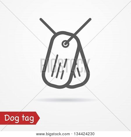 Army tag in line style. Typical simplistic dog tag. Dog tag isolated icon with shadow. Tag plates vector stock image.