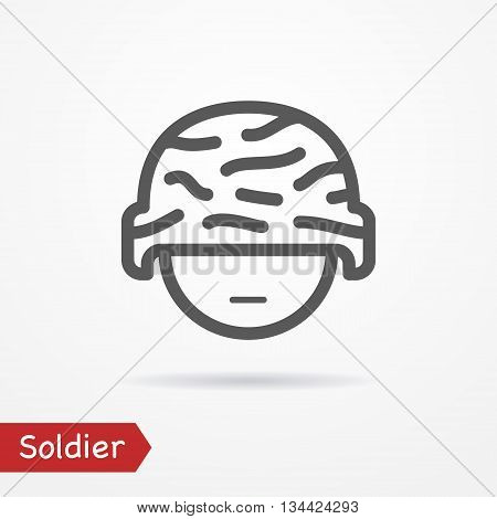 Soldier face in line style. Typical simplistic soldier in camouflage helmet. Soldier head isolated icon with shadow. Soldier vector stock image.