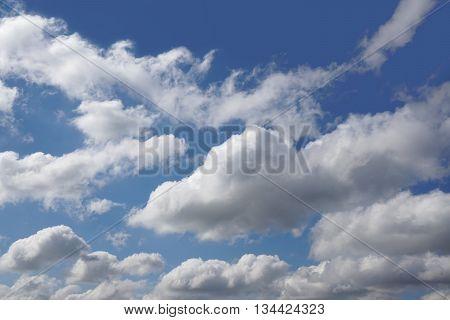 cloudy sky full of cumulus clouds. background.