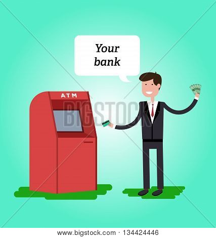 Man dressed in suit gets cash from ATM and he is happy. Vector illustration in flat style.