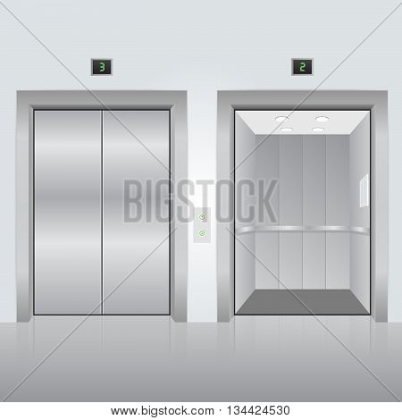 Realistic chrome opened and closed elevator doors in office building. Vector illustration.