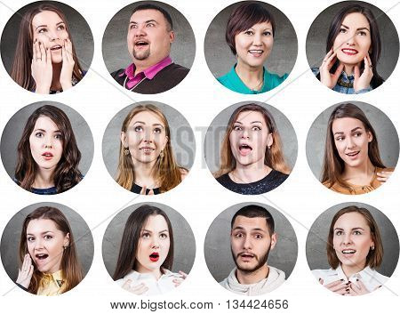 Collage of different people with surprised emotion