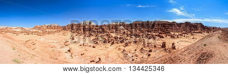 Panorama Of Hoodoo Rock Pinnacles In Goblin Valley State Park, Utah,  Usa