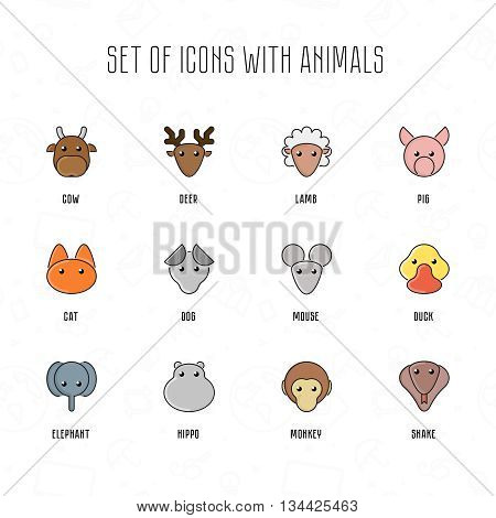 Set of icons with animals. Cow deer lamb pig cat dog mouse duck elephant hippo monkey snake. Funny animal. Portrait vector illustration. Pet faces with flat style. Zoo cartoon collection