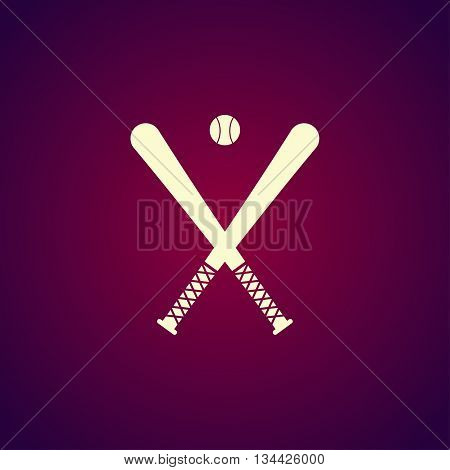 Vector Crossed Baseball Bats And Ball Set