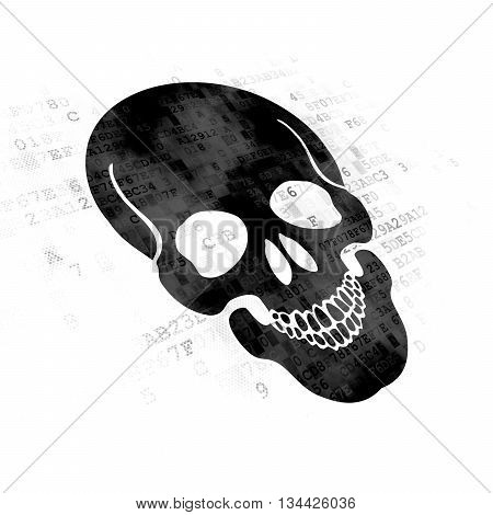 Healthcare concept: Pixelated black Scull icon on Digital background