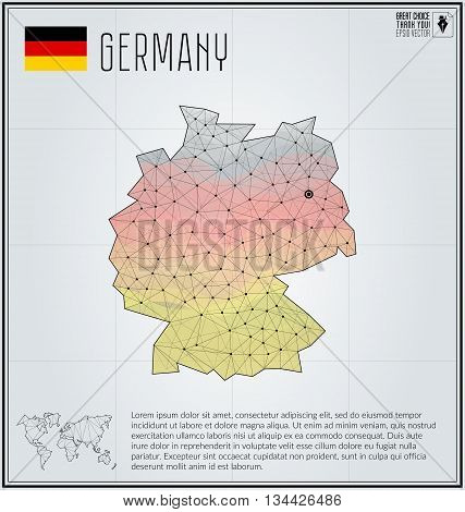 Germany map in geometric polygonal style. Polygonal abstract world map. Vector illustration. Germany flag. Berlin pointer