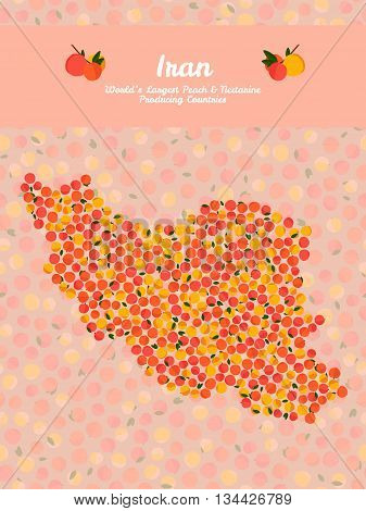Iran map poster or card. Vegetarian postcard. Map of Iran made out of pink nectarines. Illustration. Series: Worlds Largest peach and nectarine Producing Countries. Can be used as seamless pattern.