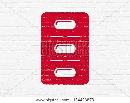 Medicine concept: Painted red Pills Blister icon on White Brick wall background