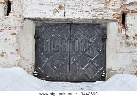 Old Metal Gate In Ancient Russian Monastery