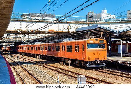 Local train at Tennoji Station in Osaka, Japan