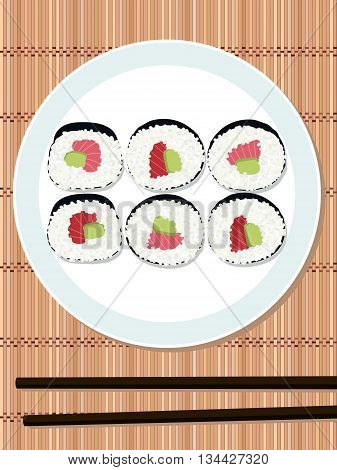 Sushi roll set with salmon and avocado filling on the round plate. Bamboo mat. Makizushi. Top view. Illustration. Japanese cuisine template. Asian food. Chopsticks.