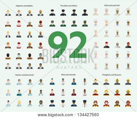 Set of 92 flat profession avatars. Engineers and builders firefighters and lifesavers police and military pilots and stewards chefs and sushi chef doctors and pharmacists. Vector illustration
