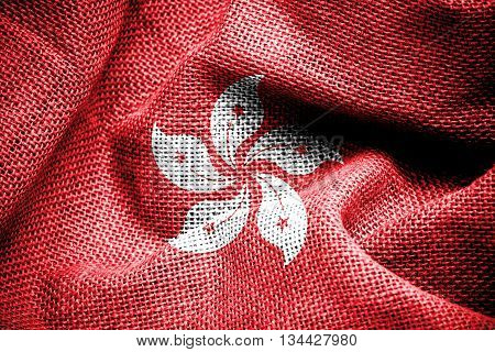 Texture of sackcloth with the image of the Hong Kong flag