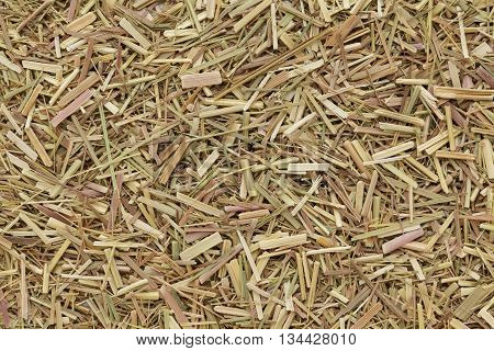 Organic dry lemongrass (Cymbopogon flexuosus) tea cut. Macro close up background texture. Top view.