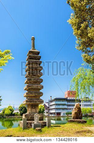 Old Stone Pagoda above Sarusawa-ike Pond in Nara, Japan