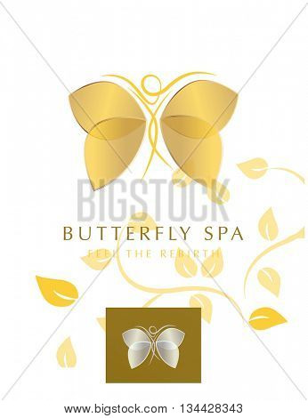 BUTTERFLY WOMAN SILHOUETTE WITH GOLDEN WINGS , VECTOR LOGO / ICON