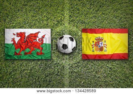 Wales Vs. Spain Flags On Soccer Field