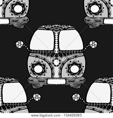 Seamless Pattern of Vintage car a mini van in zentangle style. Hand drawn image. The popular bus model of the hippie movement. Vector illustration.