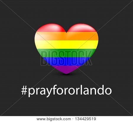 Gay colors heart shape on dark background. Mourning. 12 June 2016.