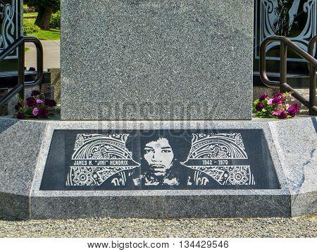 Seattle, USA - May 04, 2015: Famous rock musician Jimi Hendrix's memorial at Greenwood Memorial Park