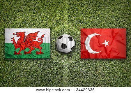 Wales Vs. Turkey Flags On Soccer Field