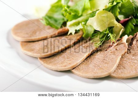 Slices of Boiled Beef Tongue