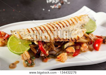 Fillet of Sea Bass with Vegetables and Lime