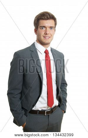 friendly young business man wearing suit and tie