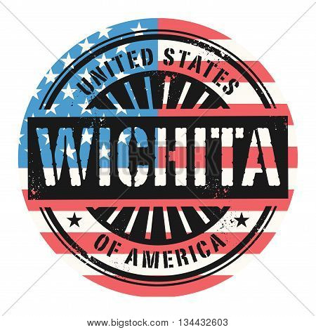 Grunge rubber stamp with the text United States of America, Wichita, vector illustration