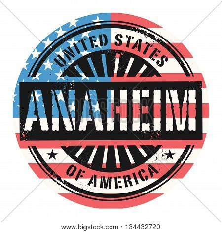 Grunge rubber stamp with the text United States of America, Anaheim, vector illustration