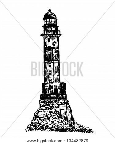 drawing old stone striped abandoned lighthouse sketch hand drawn graphic isolated vector illustration