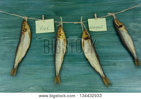 Swedish herring smoked fish a wooden table