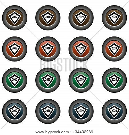 Collection of 16 isolated multicolor buttons (icons) - years (2017, 2018, 2019, 2020), shield pattern
