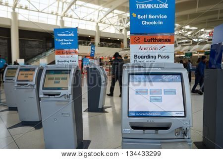 NEW YORK - APRIL 06, 2016: inside of JFK airport. John F. Kennedy International Airport is a major international airport located in the Queens borough of New York City, United States