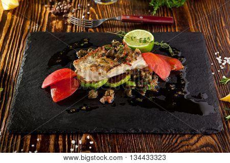 Grilled Fish Fillet with Vegetables