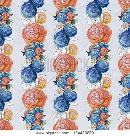 Seamless pattern with colorful peony flowers. Floral seamless watercolor background. Flower seamless pattern.