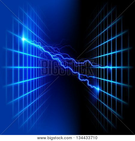 Blue dimensional grid space with light on black