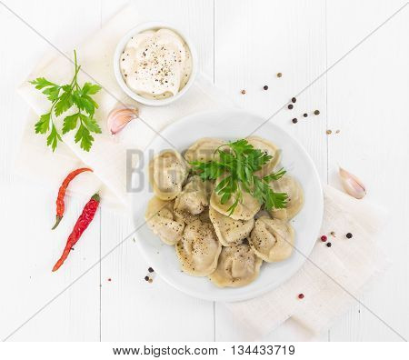 Boiled Meat Dumplings With In White Plate. Top View.