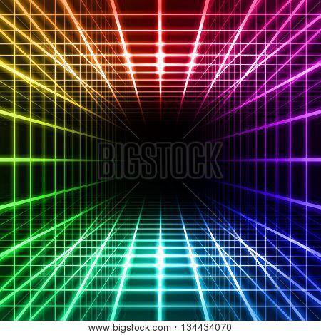 Color dimensional grid space on black background
