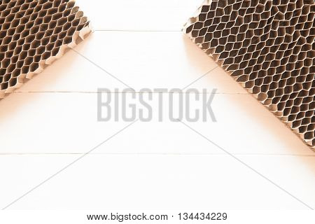 Honeycomb Cardboard. Geometric Background With Copyspace. Recyclable Kraft Paper Cardboard.
