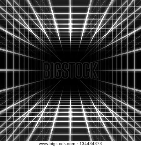 Light dimensional grid space on black background